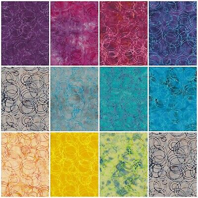 Batik Fabric, Circles, 100% Cotton, FQ ,Crafting, Quilting Patchwork • 3.20£