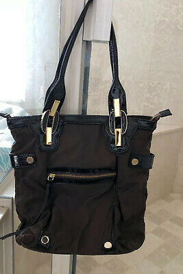 $50 • Buy New Rare Treesje Large Shoulder Bag Brown/Black/Gold Leather & Canvas