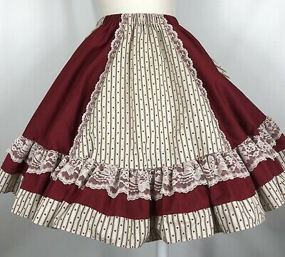 $36 • Buy Square Dance Skirt Pitchfork Ivory Heart Stripe Burgundy Contrast Lace Trim