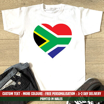 £10.99 • Buy Big South Africa Heart Flag T-Shirt Safari Birthday Holiday Love Rugby Gift Top