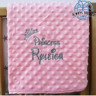 £14.99 • Buy Personalised Baby Blanket Luxur Pink Bubble Style Grey Font Disney Princess Gift