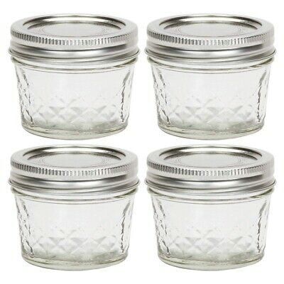 $13.95 • Buy Ball Quilted Crystal Jelly Jar 4oz Glass Regular Mouth With Lid And Band, 4 Jars