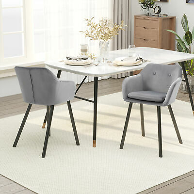 £87.99 • Buy 2 Pieces Modern Upholstered Fabric Bucket Seat Dining Room Armchairs - Grey