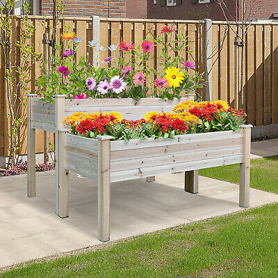 £84.99 • Buy Garden 2-Piece Solid Fir Wood Raised Flower Bed Vegetable Herb Grow Box Stand