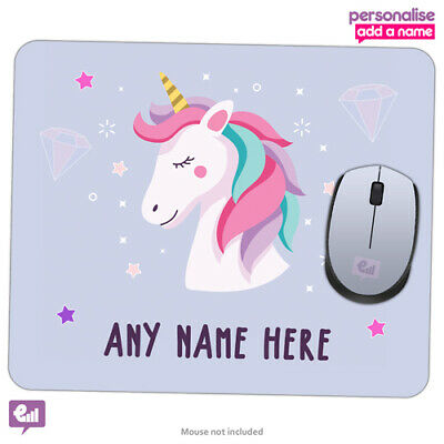 Personalised Any Name UNICORN Mouse Mat Pad PC Laptop Computer Girls Room Gift • 4.95£