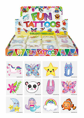 £0.99 • Buy 12 Cute Temporary Tattoos - Pinata Toy Loot/Party Bag Fillers Childrens/Kids