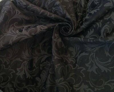 Classic Black Jacquard Brocade 60  W Perfect For Medieval Reenactment Clothing  • 4.99£