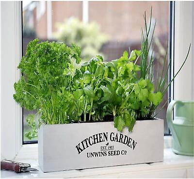 Herb Kitchen Garden Kit Indoor Windowsill Balcony Box Wooden Pots Planter Seeds • 11.49£