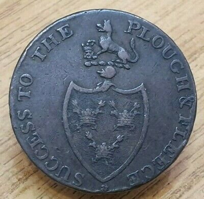 1794 Halfpenny Token The Commerce Of Britain Success To The Plough And Fleece • 15£