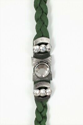 $ CDN25 • Buy Lia Sophia Ivy Accomplice Bracelet - Green Braided Leather Crystal Rhinestones