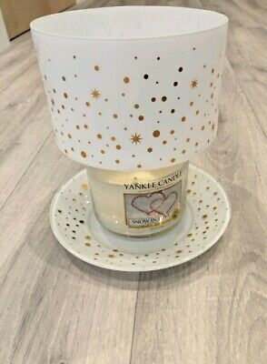 Yankee Candle Shade And Tray Set. White Gold Stars. Mint. • 15£