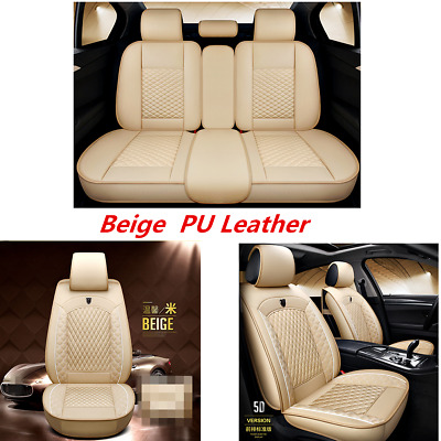 $ CDN154.24 • Buy Universal PU Leather Beige Car Luxury Seat Cover Fit Car SUV Front &Rear 5-Seats