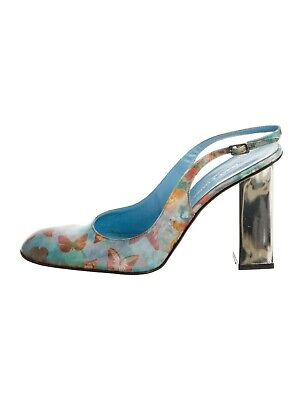 $195 • Buy Dolce & Gabbana Silver Mirrored Heel Blue Butterfly/ Floral Hologram Shoes Pump