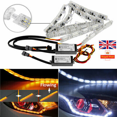 2x Sequential Dynamic Car DRL LED Strip Light Signal Indicator Headlight Lamp • 20.92£