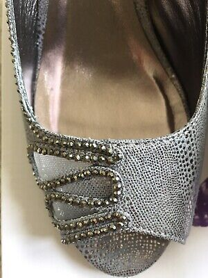 Ladies Lunar Rene Wedding / Occasion Pewter Grey Shoes Size 4 Brand New • 10£
