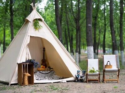 AU249 • Buy AU Ship Canvas Camping Pyramid Tipi Tent Adult Indian Teepee Tent For 2~3 Person