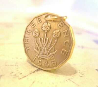 Vintage Pocket Watch Chain Fob 1945 WW2 King George V1 Threpenny Bit Coin Fob • 18£