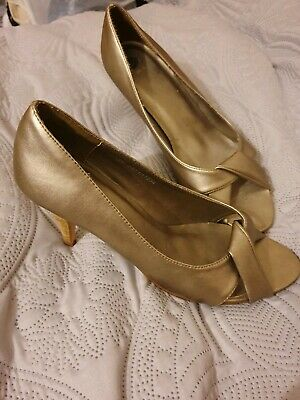 New Size 6 Gold Peep Toe Heels Pewter Metal Shoes • 1.50£