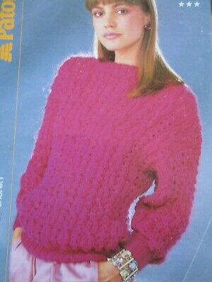 PATONS MOHAIR CHUNKY Knitting Pattern Ladies Sweater  Size 32-40 • 1.99£