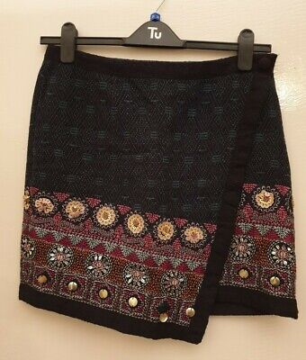 Monsoon Size 10 Hippy Boho Skirt Wrap Embroidered Indian Gorgeous Ethnic  • 5£