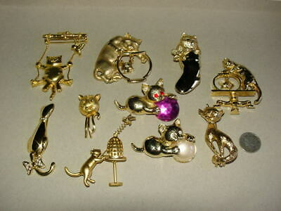 $ CDN26.31 • Buy Lot Of 10 - Gold Tone - CAT KITTEN PINS - Brooch Jewelry - 7 Are Signed