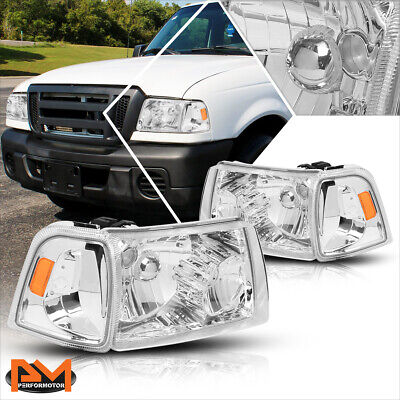 $74.89 • Buy For 01-11 Ford Ranger Truck Chrome Housing Headlight Amber Side Corner Lamp Pair