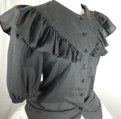 $36 • Buy Square Dance Blouse Black Button Down Ruffles Malco Modes #2556 Size S