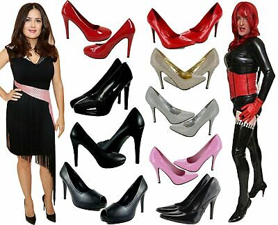 New Womens Mens Drag Queen Crossdresser High Heel Platform Court Shoes Plus Size • 19.99£