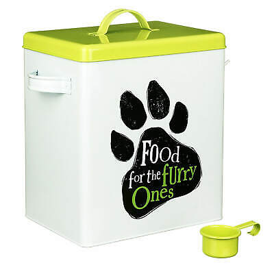 Food For The Furry Ones Metal Cat Dog Large Treats Storage Biscuits Tin Box Jar • 19.99£