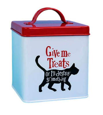 Give Me Treats Funny Metal Cat Food Storage Tin Box Jar Cats Treat Container  • 10.99£
