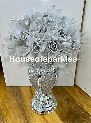 £27.99 • Buy Crushed Diamond Silver Crystal  Vase With Grey Rose Flowers, Sparkly Gift ✨