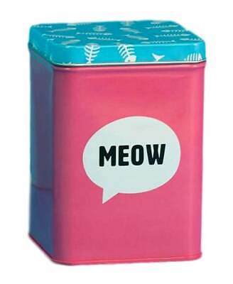 MEOW Pink & Blue Metal Cat Food Storage Tin Box Jar Cats Treat Container Gift • 9.99£