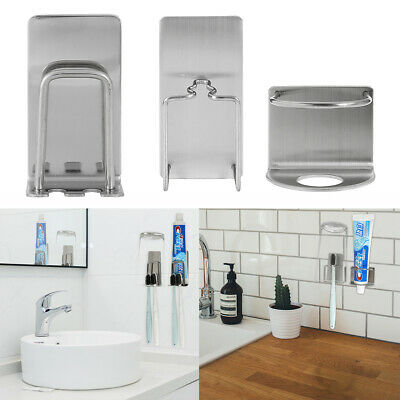 Toothbrush Holder Set Stainless Steel Wall Mount Stand Toothpaste Holder Stand • 9.23£
