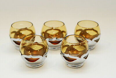 $17 • Buy 5 Cambridge Glass Farber Bros Stainless Amber Shot Glasses