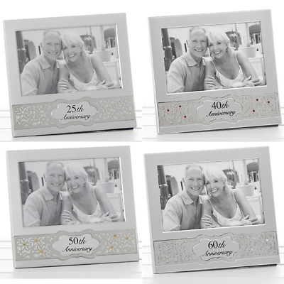 £6.85 • Buy Wedding Anniversary Satin Silver Photo Picture Frames With Diamantes Gifts
