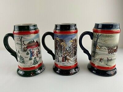 $ CDN39.46 • Buy (3) Vintage Budweiser Holiday Beer Stein Collection 1990, 1991 & 1992 Set