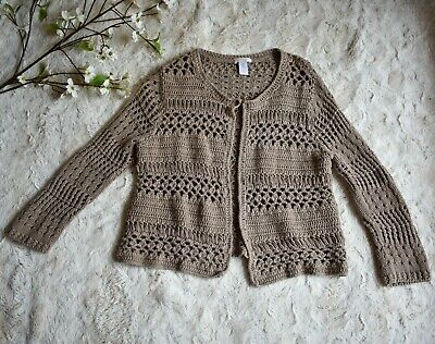 £14.54 • Buy Chico's Crochet Sweater Cardigan Sz 0 Shrug Taupe Brown 3/4 Sleeves