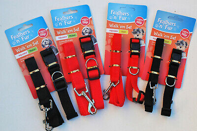 Dog Collar And Lead Set Puppy Set Adjustable Collar 2 Colours • 2.95£
