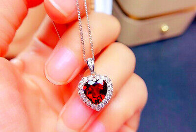 £3.95 • Buy Red Heart Stone Pendant 925 Sterling Silver Necklace Chain Women Jewellery Gift
