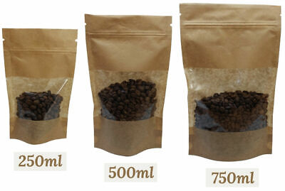 Kraft Paper Pouches With Window Stand Up Resealable Heat Seal Bags Various Sizes • 1.99£