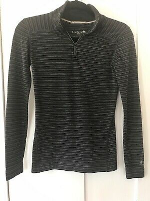 $33 • Buy Women's Smartwool 1/4 Zip Top, Shirt, Merino Wool, Black & Gray Striped, Size XS