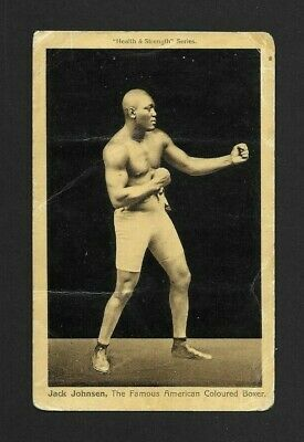 $39 • Buy Jack Johnson Heavyweight Boxer Original 1908 Health & Strength Boxing Postcard.