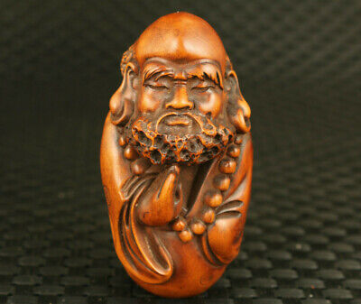 Japanese Old Boxwood Hand Zhongkui Buddha Statue Collect Hand Pieces Decorate • 36£