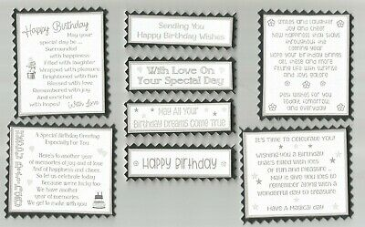 4 Silver White HAPPY BIRTHDAY Greeting Card Craft Verse Toppers W/WO Sentiments • 2.10£