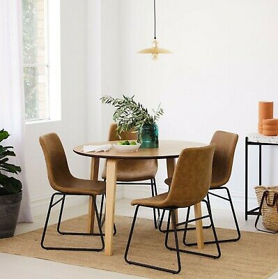 AU699 • Buy Round Oak 5 Piece Dining Set - Round Dining Table + 4 Upholstered Chairs