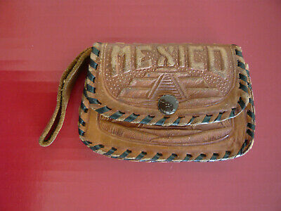 $15 • Buy Vintage Leather Tooled Coin Purse Wallet Snap Brown Mexico
