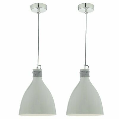 Set Of 2 Ceramic Grey Hanging Ceiling Light Fitting Dining Kitchen Lights • 29.99£