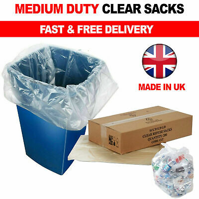 £8.95 • Buy 140G Clear Refuse Sacks Strong Bin Bags Rubbish Scrap Waste Recycling