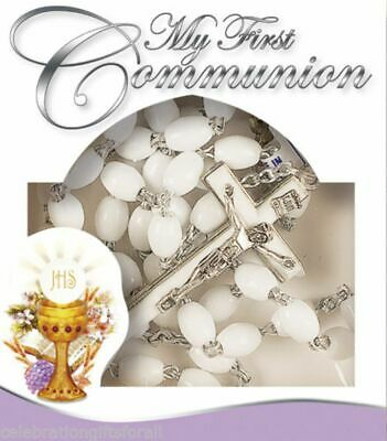 £4.99 • Buy My First Communion Rosary White Oval Plastic Beads Unisex Gift 1st Holy