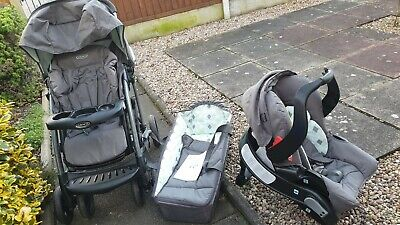 Graco Quattro Tour Deluxe Travel System Pushchair With Car Seat Base Good Rainco • 45£